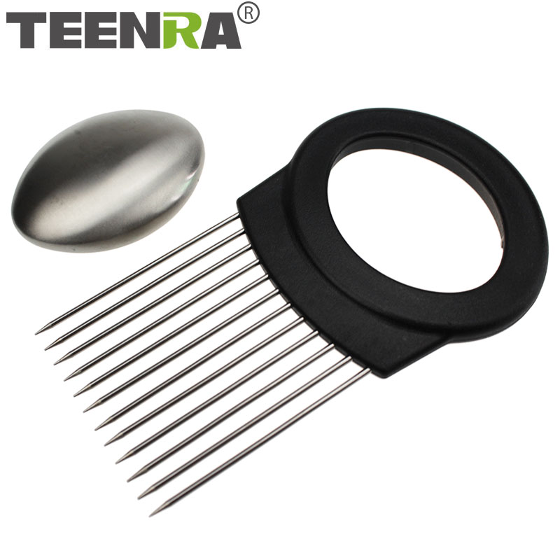 TEENRA 1Pcs Stainless Steel Onion Holder Fork With Soap Cut Onion Holder Tomato Slicer Meat Fork Vegetable Cutter Cooking Tools