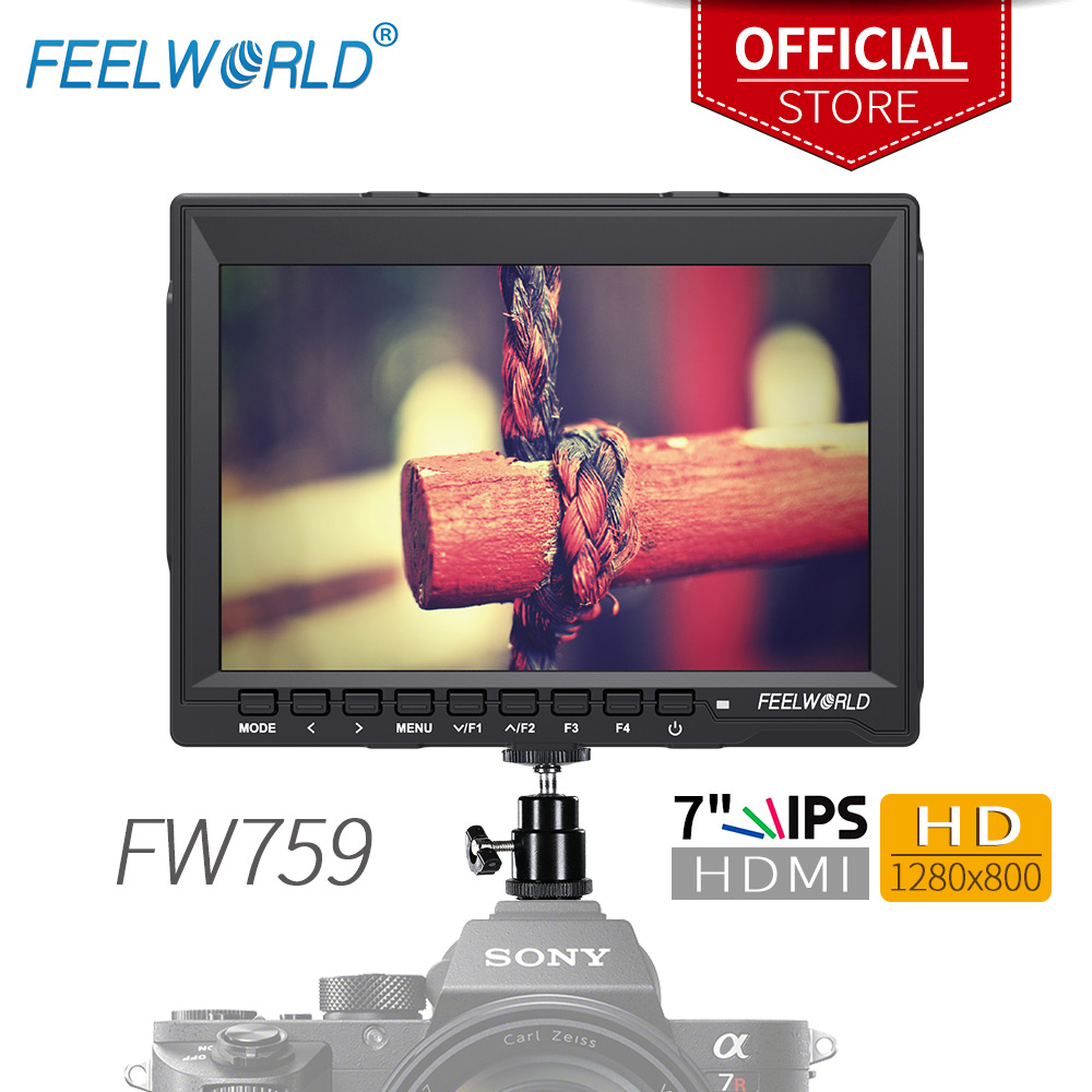 """Feelworld FW759 7 Inch IPS 1280x800 HDMI Camera Field Monitor with Peaking Focus 7"""" LCD Monitor for DSLR Camera Photo Studio"""