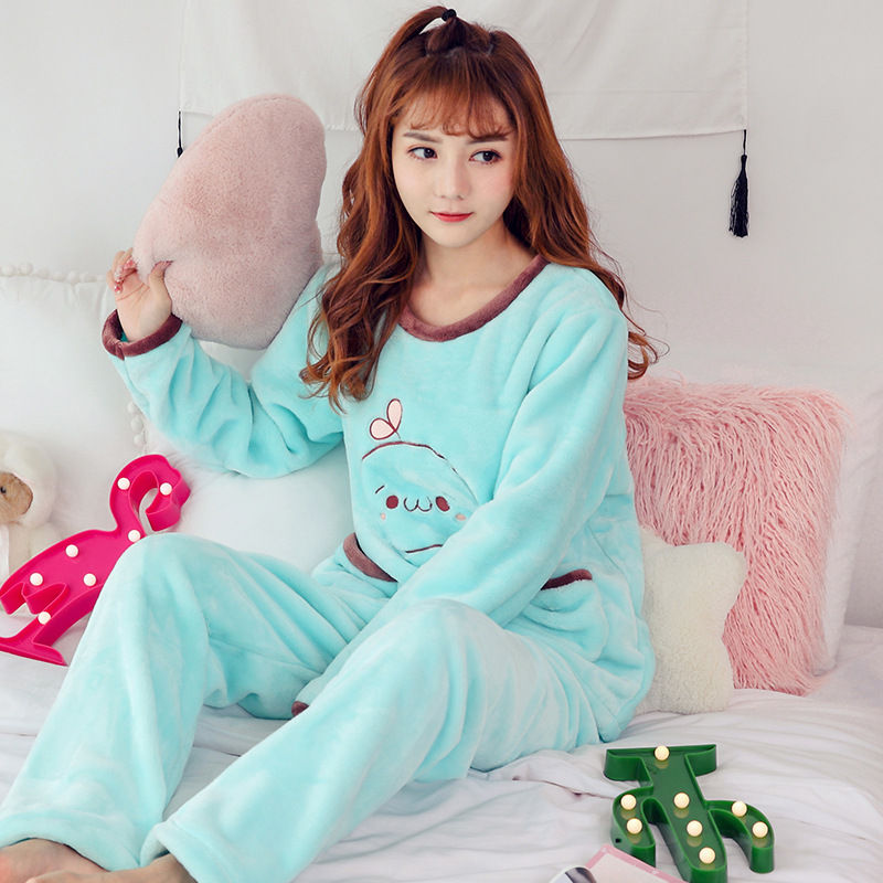 High Quality Women Pajama Sets Winter Soft Thicken Cute Cartoon Flannel Sleepwear 2 pcs/Set Tops + Warm Pants Home Clothes Mujer 84