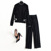 Women sprint casual 2 piece pants suits new brand runway high quality loose elastic knit shirt and straight full length pants