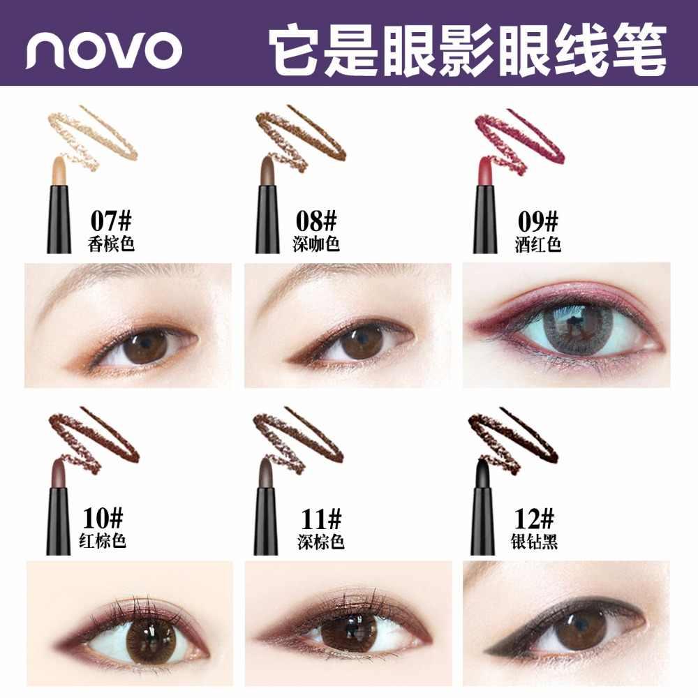 Novo Opaca Lipliner Matita 12 Colori a Doppia Testa Penna Rossetto Nero Oro Rosa Ombra di Occhio di Luccichio di Scintillio Contorno Labbra Matita BN068