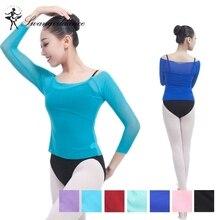 New Long Sleeve Dance Spandex Mesh Tops Ballet Dance Warm Up Tops Women ballet dance costumes SM0001