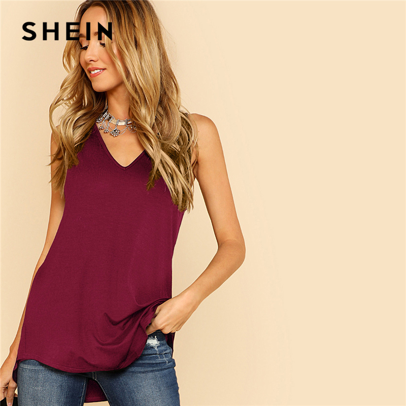 SHEIN Burgundy Plain V-Neck Sleeveless   Top   Casual Stretchy Longline   Tank     Top   Women Summer New Asymmetrical Long   Top   Vest