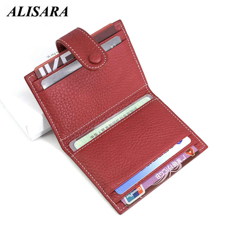 42ea31f09b5b Alisara Credit Card Case Holders Women Genuine Leather Fashion Card Cover  Girls Small Coin Purses ID/Bus Card Wallet Cowhide
