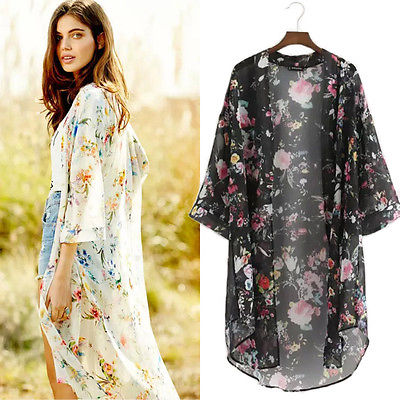 Fashion Women Long Sleeve Chiffon Kimono Cardigan Shirt Dress ...