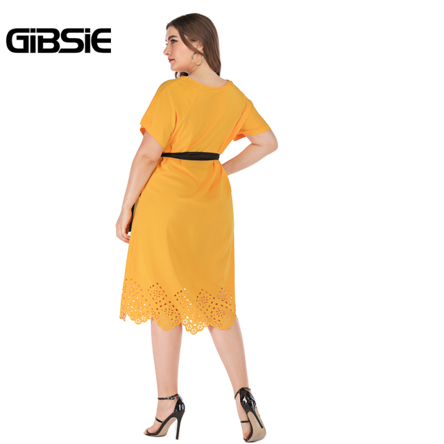 GIBSIE Plus Size Casual Solid Round Neck Short Sleeve Midi Dresses Summer Women Tunic Belted Hollow out Straight Dress 3