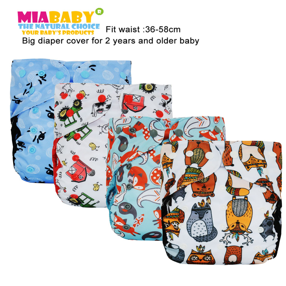 Miababy Big XL cloth diaper cover for Baby 2 Years and Older, sday-dry inner,adjustable size, fits waist 36-58cm