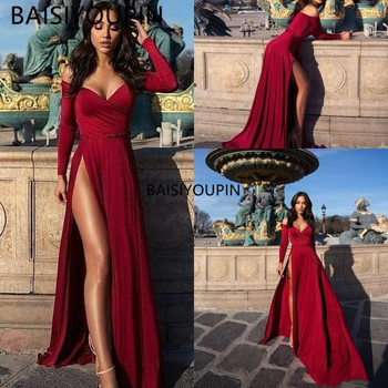 prom dresses long off shoulder high side split long sleeves formal evening gowns robes de soiree