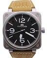 Nova Marca de luxo Dos Homens de Aço Inoxidável de Couro Marrom Relógio de Sino De Carbono Prata Mergulho PVD BR Mechanicl Automático Auto-vento relógios