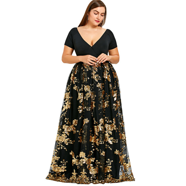 Langstar Black Plus Size Dress Women Sexy Deep V Neck Floral Sparkly