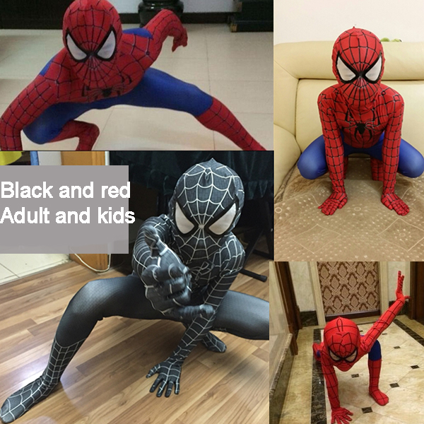 Amazing Spandex Black Spiderman Costume Clothes Suit Boy Kids Children Adult Spiderman Costume Zentai Halloween Cosplay Costume