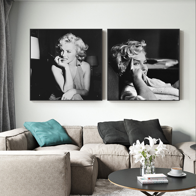 Black And White Marilyn Monroe Canvas Art Fashion Posters And Prints Wall Pictures Living Room Cuadros Decoracion Tableau Salon