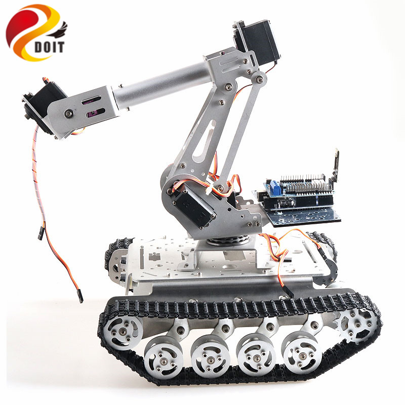 Mobile Robot with 6 DOF Mechanical Arm TS100 Shock Absorber Tank Chassis for Grabbing Transport DIY Educational Project