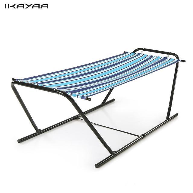 Ikayaa Outdoor Garden Portable Hammock With Steel Stand 150kg Capacity Hanging Single Chair For Beach Us De Stock