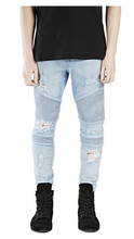 2019 Mens Skinny Jean Distressed Slim Elastic Jeans Denim Biker Jeans Hip hop Pants Washed Ripped Jeans plus size 28-38