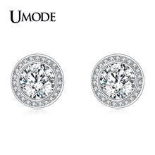 UMODE Cute Clear Round Zircon Stud Earring for Women New 2018 Earrings White Gold Color Luxury Jewelry Pendientes AUE0454