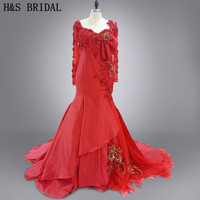 Real photo vestido de festa longo red sexy luxury pearls embroidery long sleeves evening dress