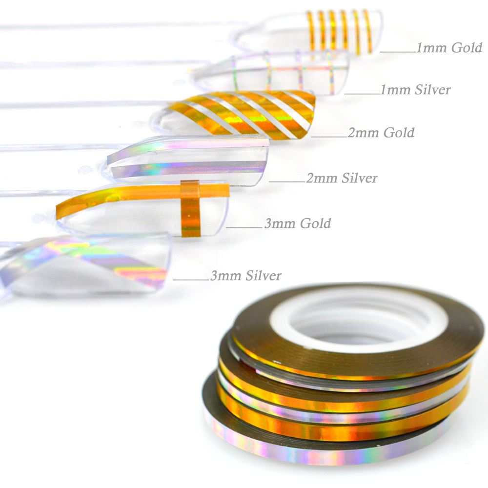 1 Roll 1mm/2mm/3mm Color Gold Silver Rainbow Effect Nail Art Striping Tape Line Sticker Decoration Laser Nails Accessories SA341 10pcs pack 2mm mix colors rolls metallic adhesive striping tape wide line diy nail art tips strip sticker decal decoration kit