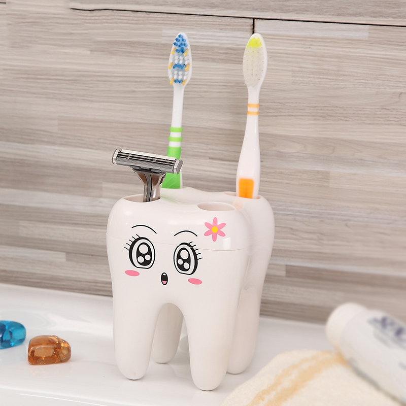 2019 Novelty 4 Hole Toothbrush Holder Bathroom Children's Toothbrush Holder ABS Razor Holder Container Bathroom Tooth Style image