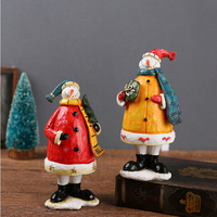 Amercian Country Style Handmade Big Size Tabletop Decor Red Yellow Resin Christmas Snowman Figure Models