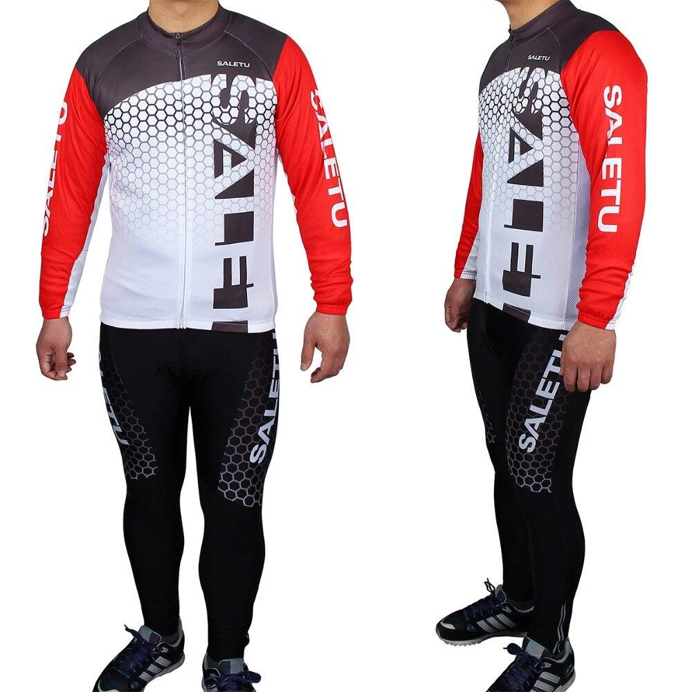 ФОТО Spring Autumn Cycling Jerseys Suits Men Women Long Sleeve Bike Riding Clothing Sports Road Bicycle Jersey Coats Pants Set