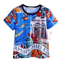 Summer Fashion Style Cartoon Print Boys T-shirts Kids Short Sleeve Baby Clothing BT90318-19L