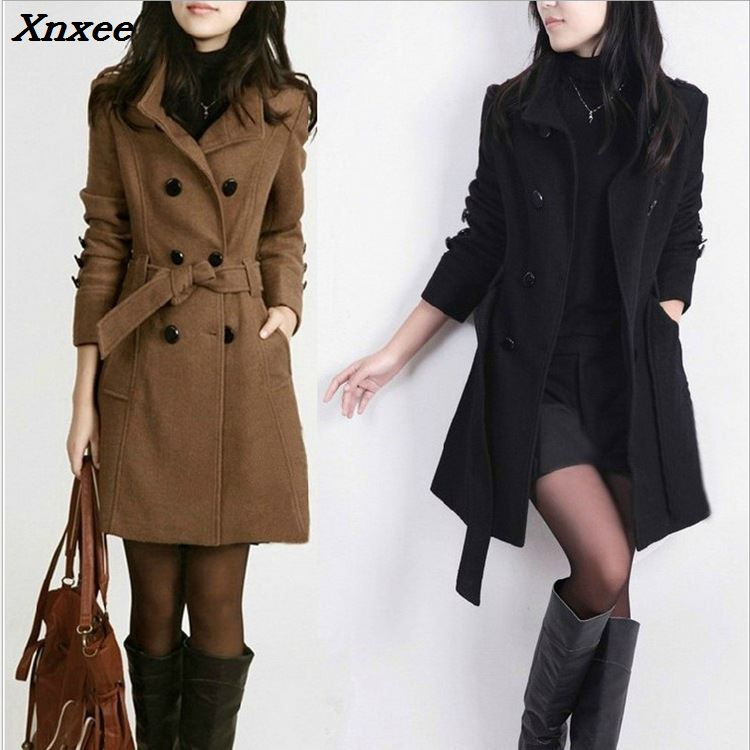 Double Breasted Wool Coat Casual Blend and Jacket Slim Women Coats Autumn Winter Xnxee