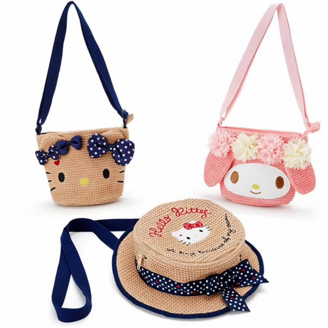 0d85a7e2d3 Cute Cartoon Hello Kitty My Melody Woven Bag Wallet Women Handbag Purse  Straw Hat Styling Shoulder Bag Messenger Bag Girls Gift