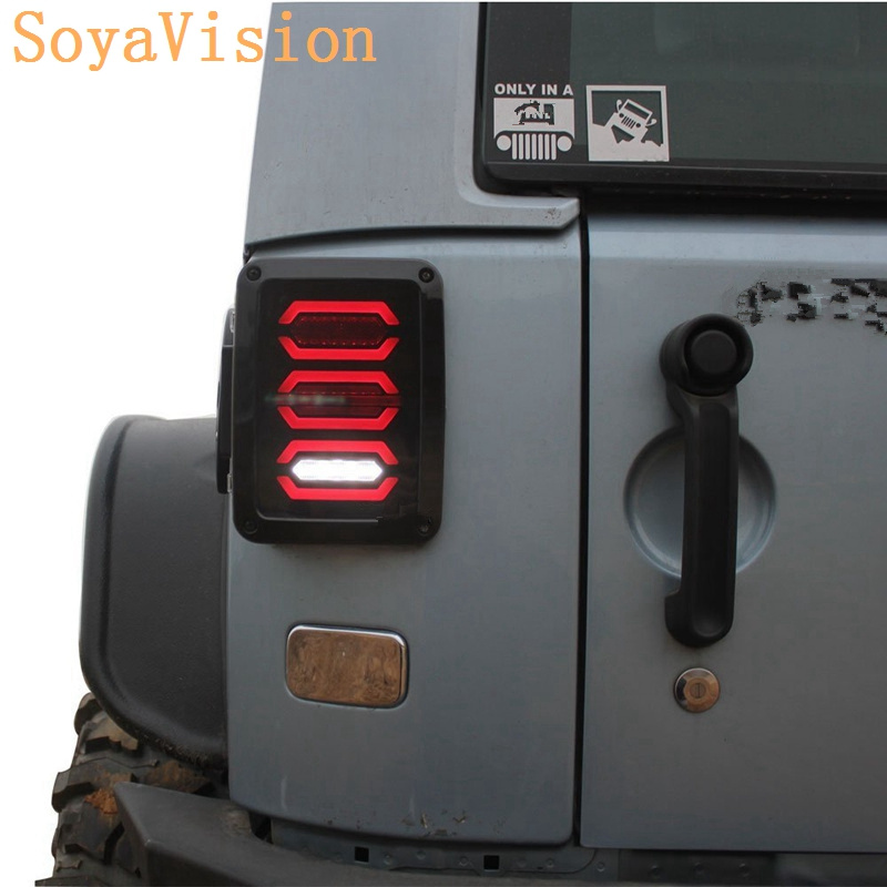 LED Brake Tail Lights Assembly with Rear Turn Signal Reverse Lights For Jeep Wrangler JK 2007
