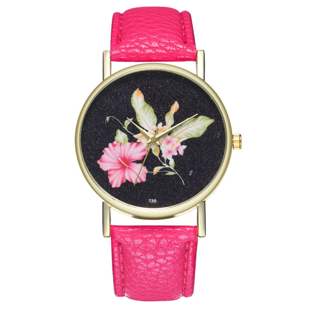 Women Quartz Watch Hibiscus Flower Leather Strap Quartz Ladies Watch Fashionable Popular High-quality Women Quartz Watch