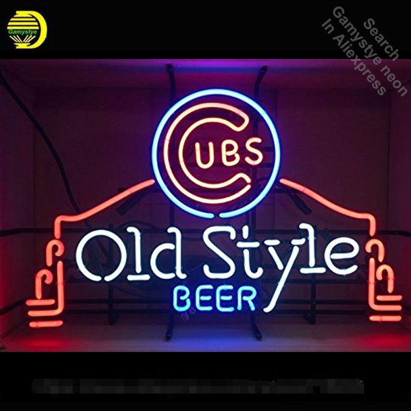 Neon Sign for Sports Unions Cubs Old Style Beer Neon Light Sign Bar Advertise Display Neon Tube Sign handcraft Publicidad lamp