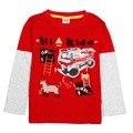 Hot venda nova crianças casual wear o-pescoço vermelho personagem de desenho animado impresso 100% algodão t-shirt criança topos elsa anna para o bebê meninos