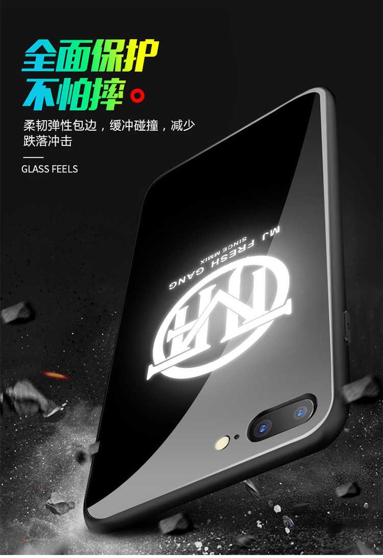 إطار زجاجي قوي للهاتف المحمول ل فون 6 6s 7 8 زائد X يكون شعار LED فلاش الفاخرة الزجاج حقيبة لهاتف أي فون X واقية غطاء الهاتف