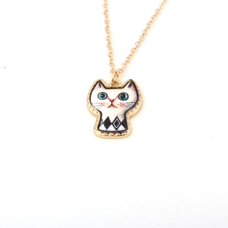 1PC Cute Cartoon Cat Animal Link Chain Necklace Gold Color Enamel Chains Necklaces For Women Jewelry For Child Christmas Gift 3