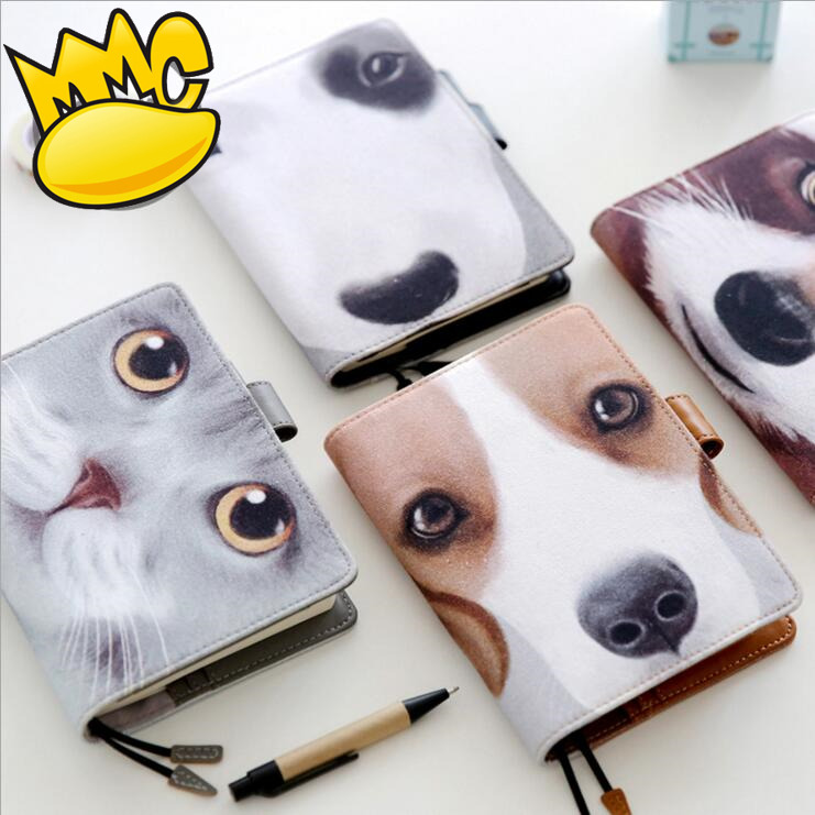 Pretty Dogs Planner Agenda Scheduler Faux Leather Weekly Monthly Diary School Study Travel Notebook Organizer creative leather ring binder a6 a5 notebook monthly weekly diara planner organizer agenda 2016 2017 cartoon school caderno