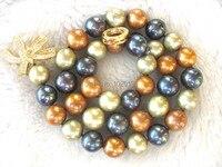 WOW! Жемчуг пресноводных многоцветный круглый А. А. 10-11 мм серебро желтый застежка ожерелья 18