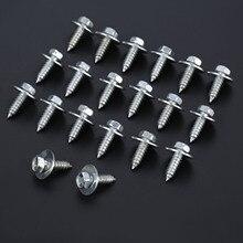 20 adet perçin vücut vida İç Trim paneli altıgen cıvata araba çamurluk raptiye perçinler galvanizli gümüş Metal 9.7mm