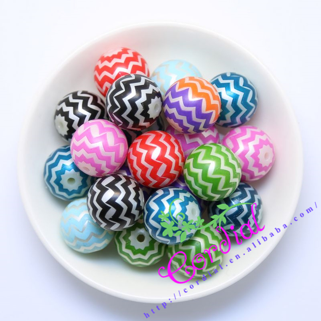 Free Shipping! Mix Color 20mm 100pcs/lot Print Chevron Pearl Acrylic Beads For Kids Chunky Necklace #CDWB-514135