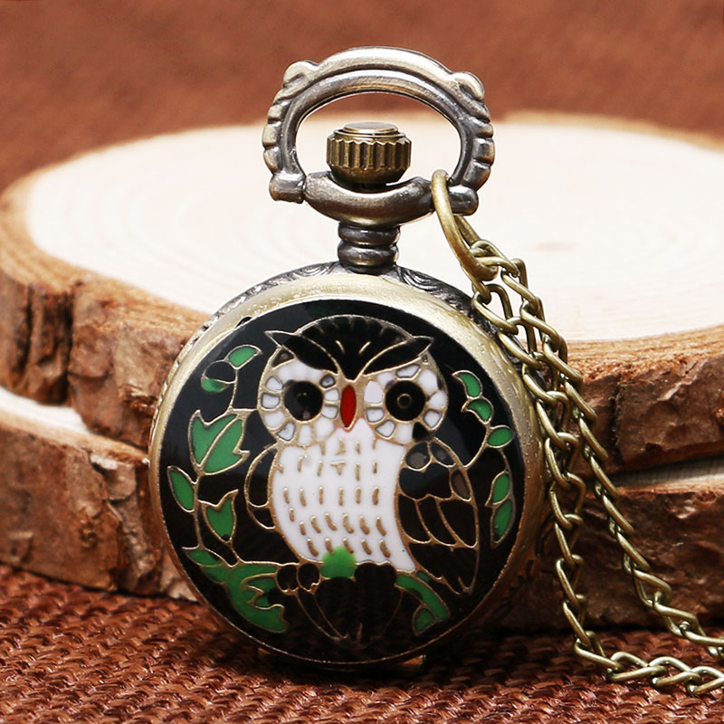 New Arrival Bronze Small Size Owl Design Quartz Fob Pocket Watch With Sweater Necklace Chain Gift For Girls Women