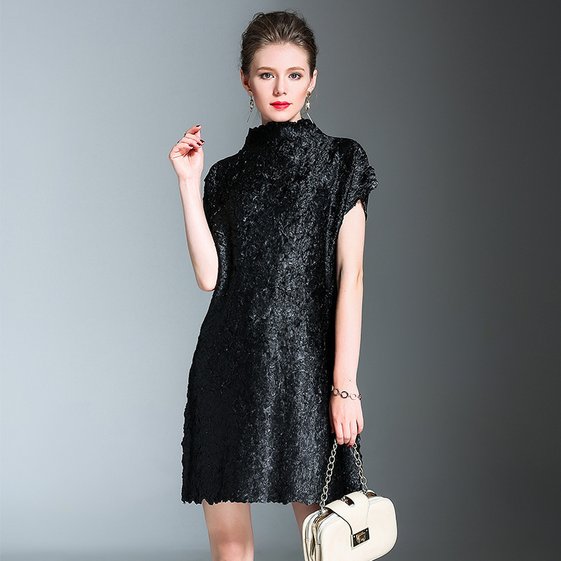 LANMREM 2019 High Quality New Fashion Stand Collar Pleated Dress Female\u0027s  Shirt Sleeve Tie dyed Folds Clothing Vestido YF39201,in Dresses from  Women\u0027s