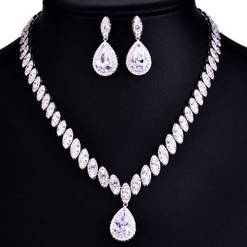 925 Sterling Silver Platinum Plate Luxury Diamond Women Wedding Jewelry Set Red/Green/Blue/White CZ Drop Earring Choker Necklace
