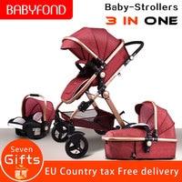 Налогов! Babyfond Детские коляска прогулочная детские автомобили 3 в 1 коляска с автомобильным сиденьем Детские коляска CE Детская безопасность