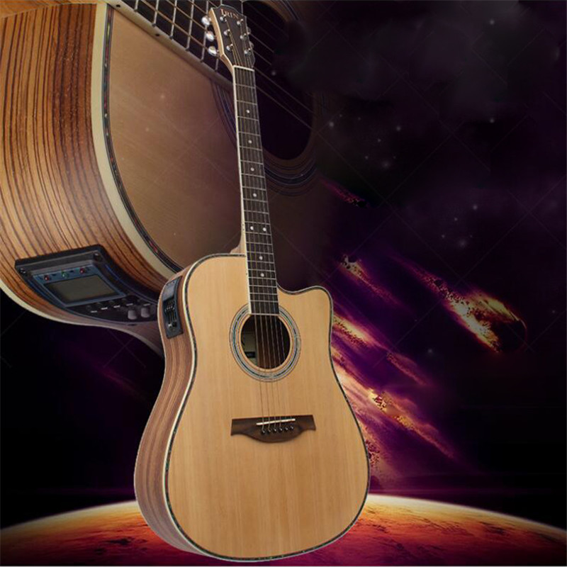 41'' Wooden Folk Guitarra 21 Fret Acoustic Electric Bass Guitar 6 Strings Concert Ukulele for Musical Stringed Instrument Lover tenor concert acoustic electric ukulele 23 26 inch travel guitar 4 strings guitarra wood mahogany plug in music instrument