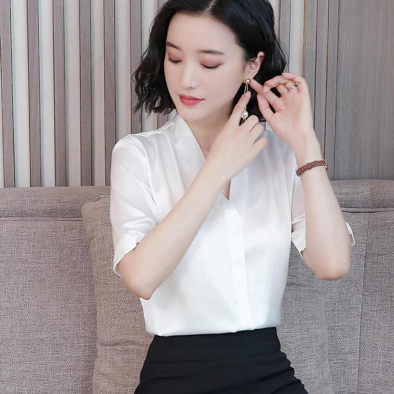 2019 Verão Nova camisa de seda natural de Alta qualidade da forma das mulheres Com Decote Em V escritório senhora Temperamental Soltos macios Mãe blusa