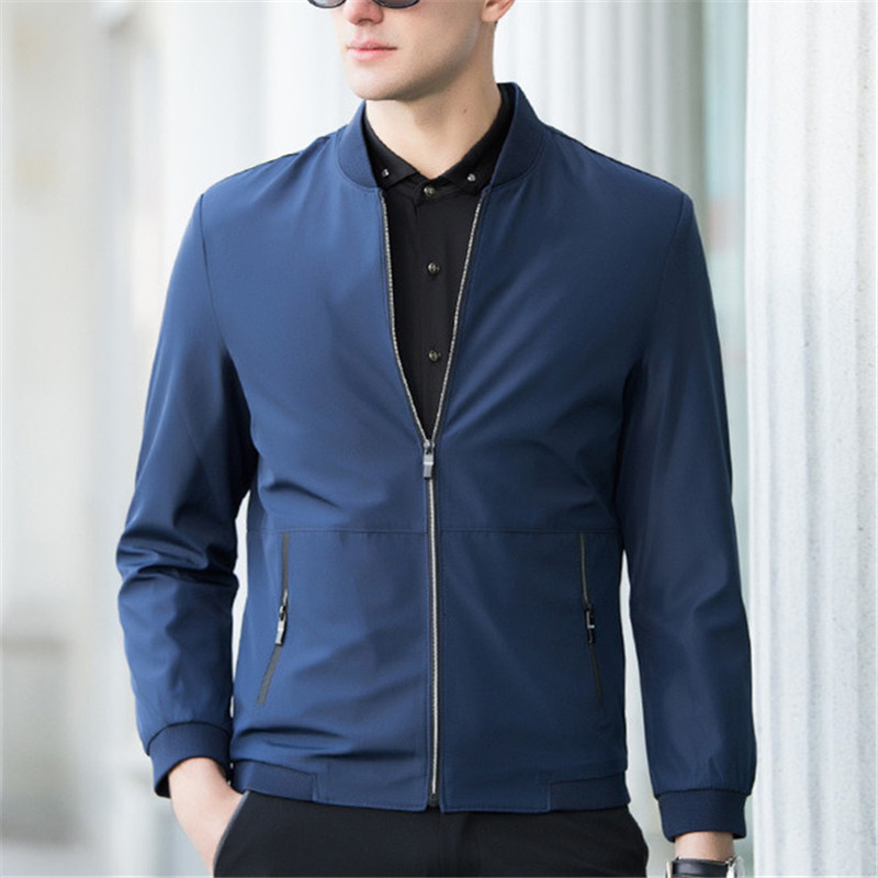 UNIVOS KUNI 2018 New Spring And Autumn Fashion Casual Men Jackets Coats Stand Collar Solid Color Slim Fit Men Jackets 4XL J49