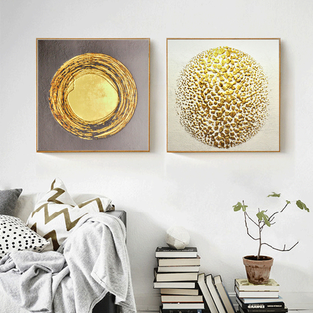 1 Pcs Hd Abstract Golden Round Wall Art Gold Color Picture Home