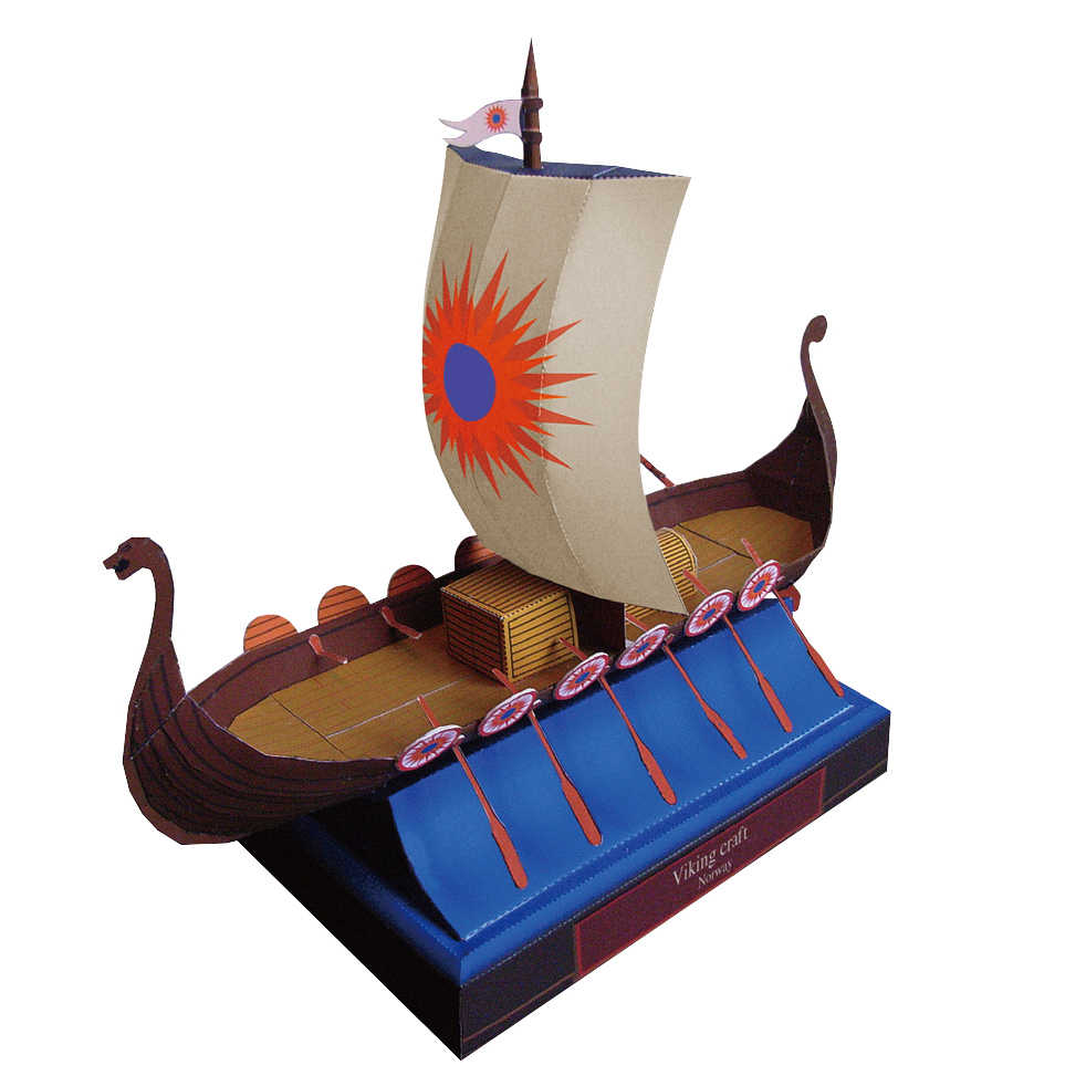 Viking Craft Battleship Ship Boat Paper Model Assemble Hand Work Puzzle Game DIY Kids Toy