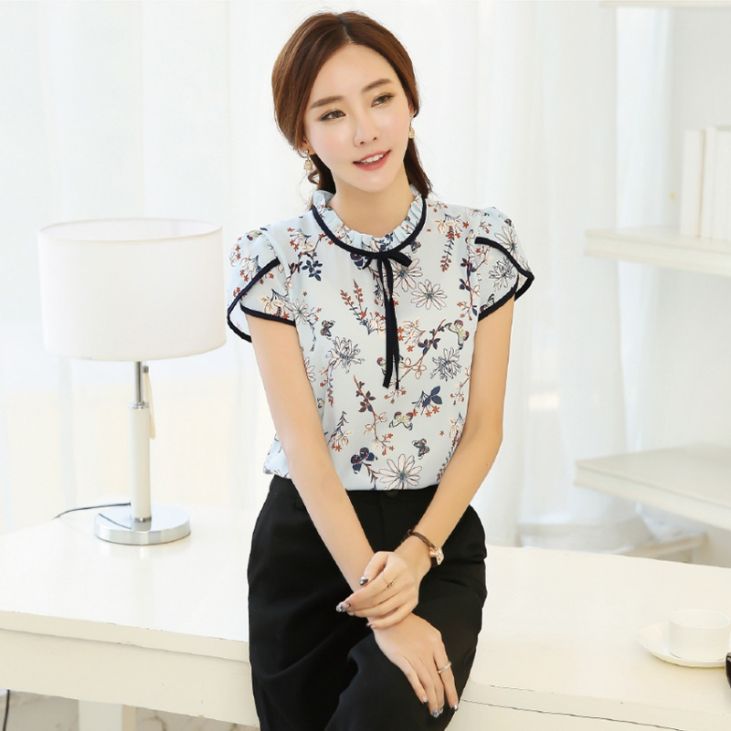 Women OL New feminine   blouses   Fashion Short Sleeve O-Neck Chiffon Bowknot Summer Print   Blouses   Tops korean fashion clothing