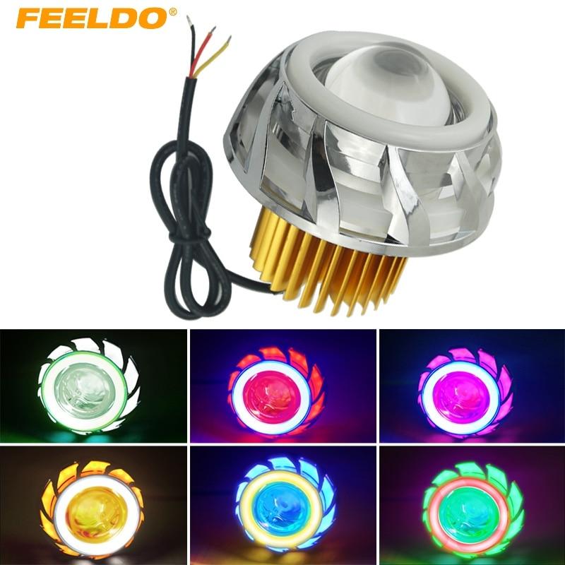 FEELDO Universal Hi/Lo Beam Projector Lens Headlight with Double Angel Eyes Demon Eye for Motorcycle LED Fog Light #4177
