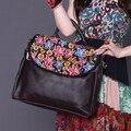 female Ethnic embroidered shoulder crossbody messenger bag women fashion designer handbags flower hand bag bolsas black brown